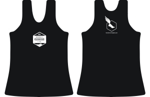 HRL mens-womens black singlet